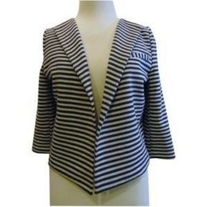Aryn K short open front stripped jacket Sz S